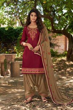 Salwar Kameez, Patiala Salwar, Salwar Suits, Costumes Punjabi, Costumes Anarkali, Indian Dresses, Indian Outfits, Indian Clothes, Costume Marron
