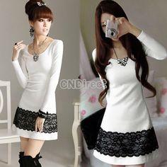 Fashion Women's Girl Long Sleeve Casual Lace + Cotton Blends Mini Dress White