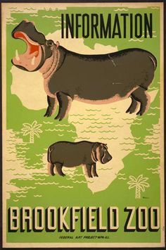 1937 See the Hippo at the Brookfield Chicago Zoo! Vintage Advertising Posters, Vintage Travel Posters, The Zoo, Zoo 2, Brookfield Zoo, Wpa Posters, Retro Poster, Print Poster, Classic Movie Posters