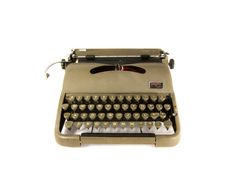 1950s - Groma Modell N Typewriter - Olive - Case included - Cleaned and Working - QWERTY  # Serial number: 349028 Production year: 1957 (Late series, last year!)  Model information: The Groma Modell N was designed by Leopold Ferdinand Pascher (above), born in Vienna on May 31, 1896. Pascher worked for Torpedo in Frankfurt, Bing in Nuremberg, Orga-Privat, Triumph and Stoewer (where his portable became the Rheinmetall KsT) and was one of Germanys most prolific and brilliant typewriter…