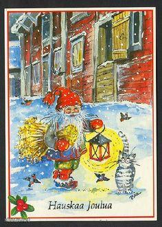 Anne-Marie Nilsson BIA, Christmas card 10 x Finland Scandi Christmas, Christmas Fairy, Vintage Christmas, Christmas Cards, October 10, Old Postcards, Gnomes, Troll, Scandinavian