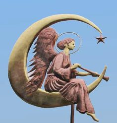 Angel Weathervane on Moon by West Coast Weather Vanes.  Hand crafted copper and brass Angel Weather Vane with optional gold leafed accents.