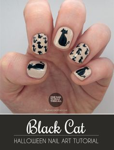 It might look tricky, but marrying a few basic shapes—teardrops, circles, and triangles—makes it easy to be successful with this black cat nail art for Halloween. #divinecaroline #nailart #halloween