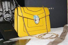 100 Authentic Bulgari Calfskin Leather Serpenti Shoulder Bag in Saffron Gold HW | eBay