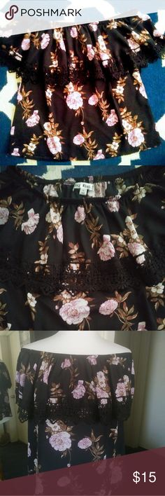 Off Shoulder Top New Never Worn Beautiful off shoulder top! All black and Light pink roses with lace all around 🌸 >Strechy shoulder part no stretch on bottom. >Lose fit in abdominal area if M&L but its ment to be for this shirt  >If XL it might not have much wiggle space.   >Saids Xlarge but perfectly fits M & L Great! Tops Blouses