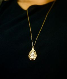 Tear Drop Necklace Long Gold Necklace Filigree by MicaJewelsNYC, $40.00