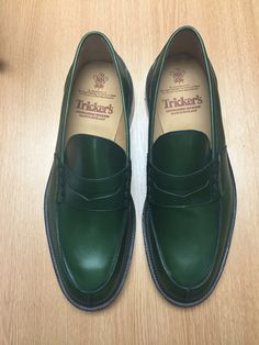 Tricker's classic Penny loafer combines comfort with quiet confidence. In Green Aniline with brown storm welt, leather uppers and linings channelled and stitched leather sole. STYLE NO. 3227/7 LAST W2298