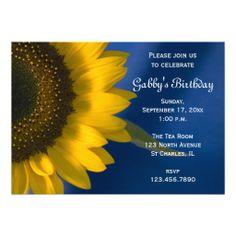 Sunflower on Blue Birthday Party Invitation