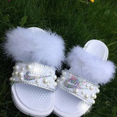 Custom Nike Fur Slides for Sale in Decatur, GA - OfferUp Nike Sandals, Sandals Outfit, Sneakers Fashion, Fashion Shoes, Shoes Sneakers, Cute Slides, Diy Slides, Fluffy Shoes, Nike Slippers