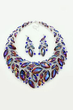 Crystal Davida Necklace in Fiery Sapphire Vitrail - Emma Stine Ltd