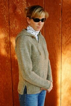 Diane Soucy's top-down hoodie pattern.  This is the first sweater I finished.  I made this out of Lion's Amazing yarn in Glacier Bay.