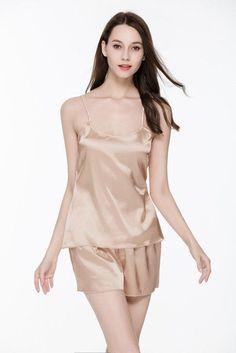 2016 New Summer Women Pijamas Nightwear Pajamas Set Sleep Wear Nightwear  Set Shorts Silk Satin Indoor Clothing 8ef472d18