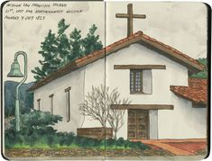 Mission San Francisco Solano, the northernmost of the California missions. Sketched in Sonoma, CA.
