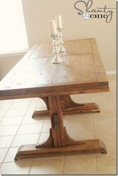 DIY Providence Bench Plans By Ana White Handmade With . Tall Pub Table And Chairs Foter. Truss Beam Table And Bench Ana White. Finding Best Ideas for your Building Anything Farmhouse Table With Bench, Diy Dining Table, Make A Table, Table Bench, Trestle Table, Wood Tables, Farmhouse Chic, Table Legs, Trestle Legs