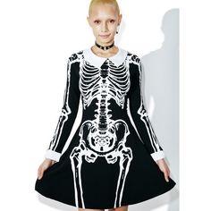 Killstar Living Dead Skater Dress ($88) ❤ liked on Polyvore featuring dresses, skater dress, graphic dress, graphic print dress, tie back dress and skater skirt