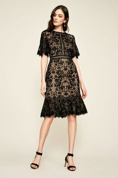 Crafted of vintage-inspired embroidered tulle, this short sheath dress features an illusion sweetheart neckline, flutter sleeves, and a dance-ready flounced hem. By Tadashi Shoji Cotton, nylon Bac Simple Dresses, Cute Dresses, Beautiful Dresses, Casual Dresses, Tulle Dress, Lace Dress, Necklines For Dresses, Petite Dresses, Lace Sleeves