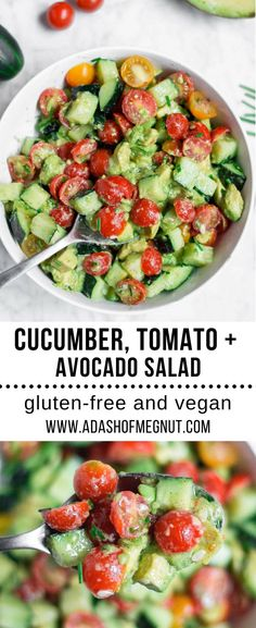 This cucumber tomato avocado salad is a simple and refreshing gluten-free side dish that is great for weeknight meals and entertaining, too. A potluck staple in our house during the summer, it pairs so well with all types of protein - from seafood to meat to vegetarian and vegan options. #glutenfree #dairyfree #vegan #vegetarian #vegetables #potluck #entertaining #salad via @adashofmegnut