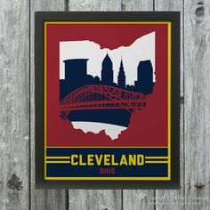 Cleveland Ohio Skyline Poster Print: Wall Art by DandWElements Cavs Cavaliers