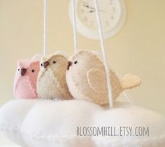 3 birds and one cloud A sweet addition to your babys nursery or playroom. Hand stitched with love and care All designs are made using my own original