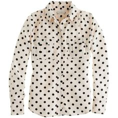J.Crew Blythe blouse in polka dot (403.935 COP) ❤ liked on Polyvore featuring tops, blouses, shirts, blusas, long-sleeve shirt, army shirt, long sleeve shirts, j.crew blouse y pink blouse