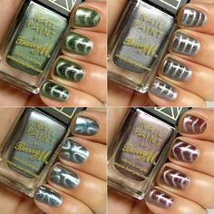 Barry M Magnetic Nail Effects: Cosmic Glow, Super Nova, Neptune Sea, Venus Sunse. - Barry M Nail Varnish Sparkle Nail Designs, Sparkle Nails, Pink Nails, Venus, Holographic Nail Powder, Barry M Nails, Grey Nail Art, Magnetic Nail Polish, Nail Effects