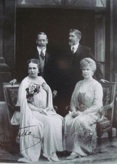 King George V, Queen Mary, KIng Ferdinand and Queen Marie of Romania at Buckingham Palace, 1924