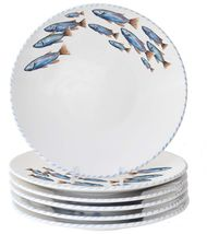 The Pesce Fish Dinnerware collection is created with a school of swimming blue fish decorating each one of these pieces in it's own special way, rimmed in coordinating blue striped edges. Love them!