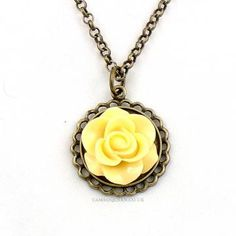 Sherbet Lemon Flower Cabochon Necklace - The Cameo Queen by gemmawild for $23.00