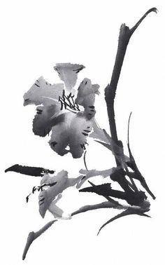 [수묵화 기법] 수묵채색화 기법 ... 꽃(花)