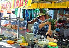 Noodling ... Nguyen Thi Thanh, aka Lunch Lady, in action.