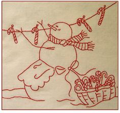 Hanging candy canes on clothes line. Cute embroidery. #fabric #embroidery