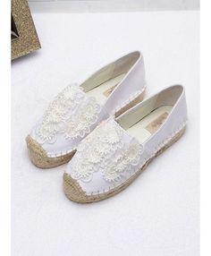 Round toe Cotton Rubber sole Wedding shoes Espadrillas bianche per sposa disponibili online