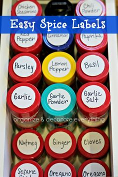 Easy Spice Labels - Organize and Decorate Everything