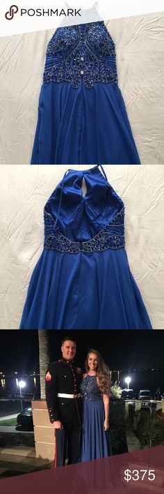 Jovani Prom Dress jovani 92065, no alterations made, backless with beaded corset, royal blue Jovani Dresses Prom