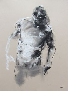 Derek Overfield, Male Figurative Art, conté and pastel on brown paper drawing Art Education Lessons, Pastel, Art Drawings, Figure Drawings, Large Painting, Simple Art, Life Drawing, Conte, Beautiful Paintings