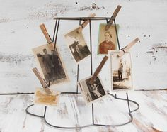 Display old postcards - Vintage - Wire Frame Lampshade Photo Display