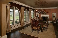 Farm House Design Ideas, Pictures, Remodel, and Decor - page 233 Dining Room Drapes, Tuscan Dining Rooms, Tuscan Design, Tuscan Style, Interior Decorating, Interior Design, Luxury Living, Farmhouse, House Design