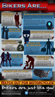 The Husband and Wife Law Team of Mark and Alexis Breyer debut new biker demographic infographic. Motorcycle Tips, Motorcycle Quotes, Motorcycle Touring, Girl Motorcycle, Ride Out, My Ride, Harley Davidson Motorcycles, Triumph Motorcycles, Custom Motorcycles