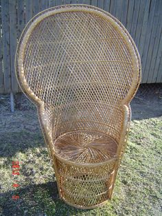 High Back Wicker Rattan Chair Peacock Fan Back By PennyBunny, $95.00