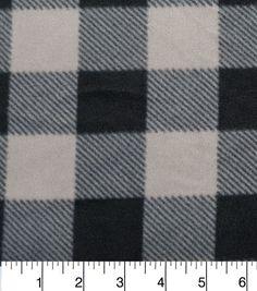 """Anti-Pill Fleece Fabric 57""""-Grey Black Buffalo Check"""