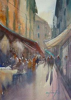 """Trattoria V, Venice Italy Painting"" - Original Fine Art for Sale - © Keiko Tanabe"
