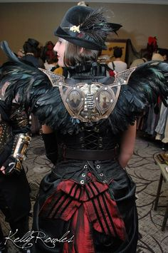 Incredible black feather steampunk wings attached at the shoulder - - 15 Sets of Steampunk Wings