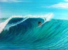 Acrylic on canvas by Newport Loft Surf Art Surf Drawing, Water Surfing, Sea Illustration, Surf Bedroom, Surf Art, Seascape Paintings, Community Art, Glass Art, Waves