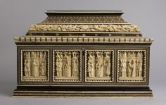 """Embriachi Workshop, """"Marriage Casket with scenes from Jason and the Golden Fleece,"""" Venice c. 1400-1410. The myth of Jason and the Golden Fleece is depicted in bone and horn on this fifteenth century marriage chest from Venice."""