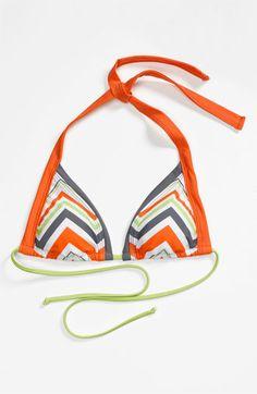 BCA Chevron Stripe Triangle Bikini Top | Nordstrom