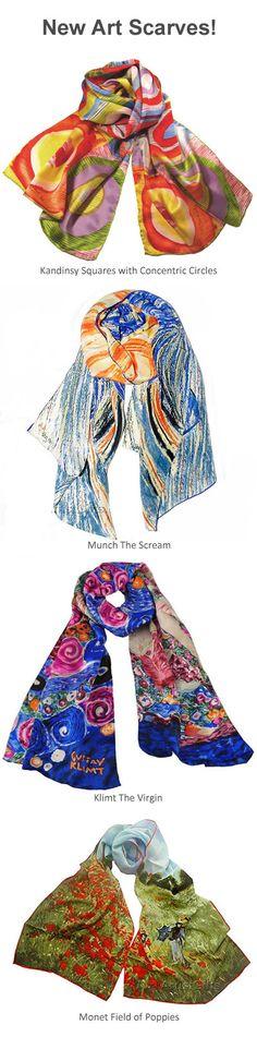 Fine art scarves to wear in luxurious silk! These silk art scarf designs were inspired by art from Kandinsky, Munch, Klimt, Monet and more.