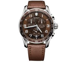 Victorinox Swiss Army Men's Chronograph Classic XLS Brown Leather Strap Watch 45mm