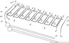 Download or print Wooden Xylophone dot to dot printable worksheet from Musical-Instruments,Xylophone connect the dots category.