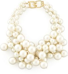 Kenneth Jay Lane Simulated Pearl Cluster Necklace, Ivory  WAS $120.00  NOW $89.00