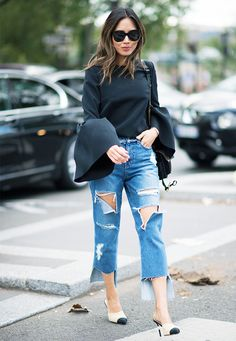 Off-duty dressing calls for a pair of boyfriend jeans